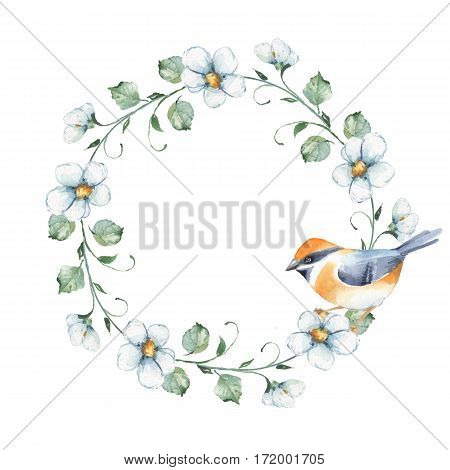 Watercolor floral frame with bird. Element for design. Watercolor background