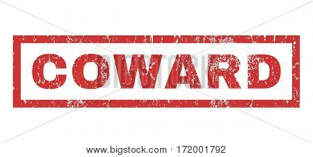 Coward text rubber seal stamp watermark. Tag inside rectangular shape with grunge design and scratched texture. Horizontal vector red ink emblem on a white background.