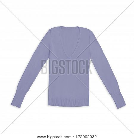 mauve purple v-neck pullover, isolated on white background