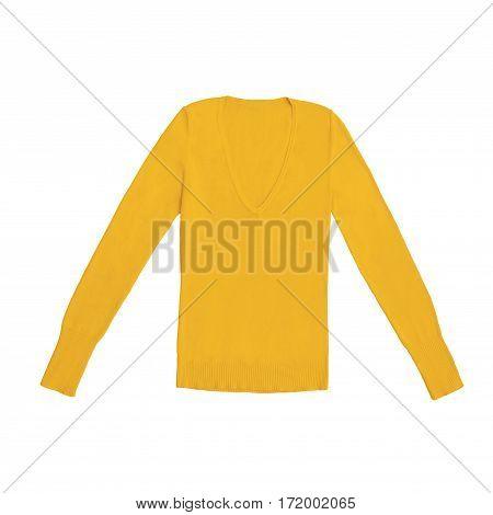 orange v-neck pullover, isolated on white background