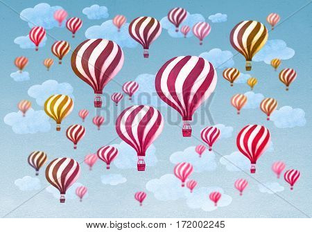 Hot air balloons flying throught a cloudy blue sky. Vintage air balloons. Retro engraving air balloons in the clouds. Watercolor illustration.