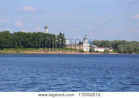 Novgorod Russia June 03 2016. Russian scene: Pokrovsky Cathedral in Zverin-Pokrovsky monastery in Novgorod
