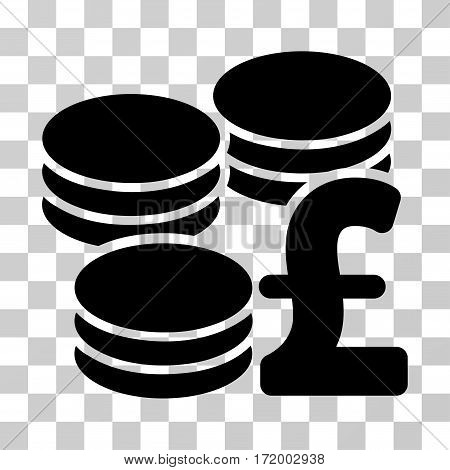 Pound Coins vector pictograph. Illustration style is a flat iconic black symbol on a transparent background.