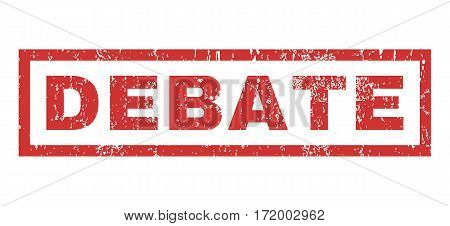 Debate text rubber seal stamp watermark. Caption inside rectangular banner with grunge design and scratched texture. Horizontal vector red ink sign on a white background.