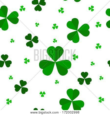Leaf clover on a white background. Seamless pattern with clover leaves.