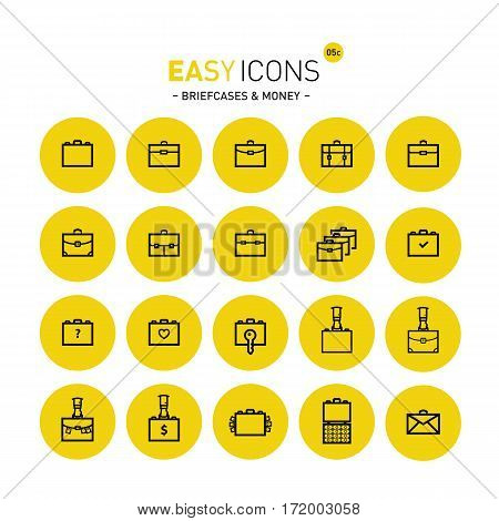 Vector thin line flat design icons set for business, documents and briefcases themes
