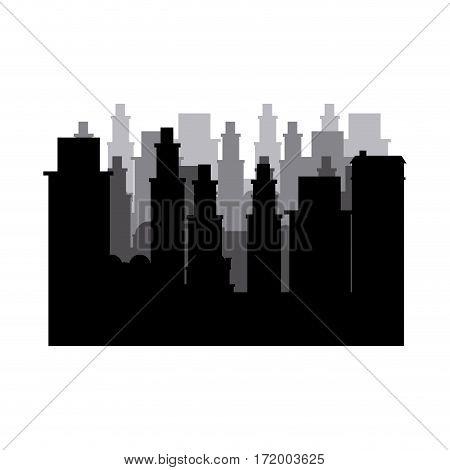 silhouette cityscape scene night time vector illustration