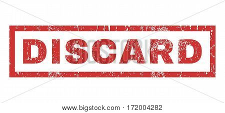 Discard text rubber seal stamp watermark. Tag inside rectangular shape with grunge design and scratched texture. Horizontal vector red ink sticker on a white background.