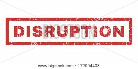 Disruption text rubber seal stamp watermark. Tag inside rectangular banner with grunge design and dust texture. Horizontal vector red ink sign on a white background.