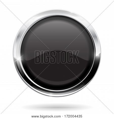 Web button. Round black icon with chrome frame. Vector illustration isolated on white background