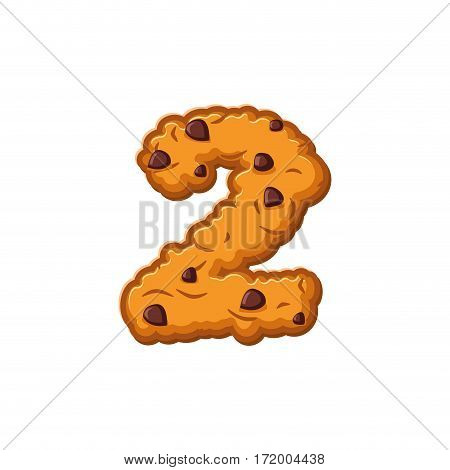 Number 2 Cookies Font. Oatmeal Biscuit Alphabet Symbol Two. Food Sign Abc