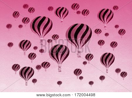 Vintage Hot air balloons. Watercolor illustration. Travel and explore. Post Card with retro Hot Air Balloons. Texture for greeting cards, banners, posters, prints