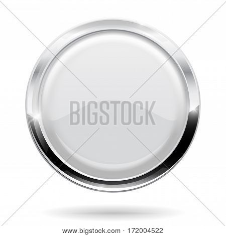 Web button. Round white icon with chrome frame. Vector illustration isolated on white background