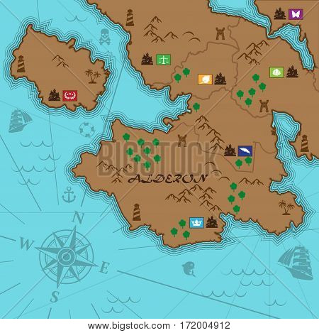 Map of unknown continent with sea, castles and mountains