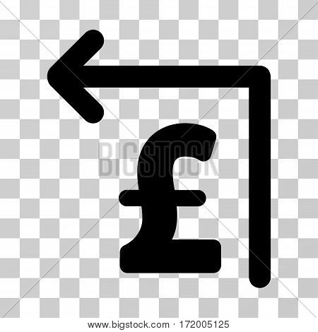 Pound Moneyback vector pictograph. Illustration style is a flat iconic black symbol on a transparent background.