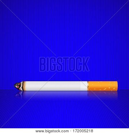 burn Cigarette on blue background. Vector illustration