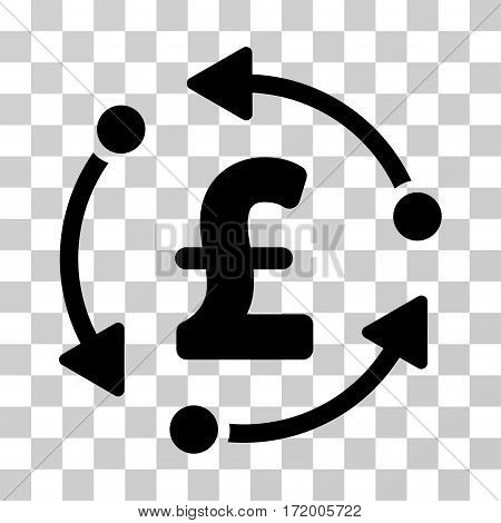 Pound Rotation vector pictogram. Illustration style is a flat iconic black symbol on a transparent background.