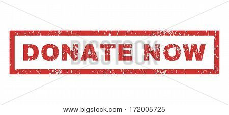 Donate Now text rubber seal stamp watermark. Caption inside rectangular banner with grunge design and scratched texture. Horizontal vector red ink sticker on a white background.