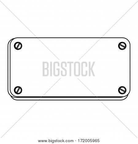 silhouette metal plate with screws vector illustration