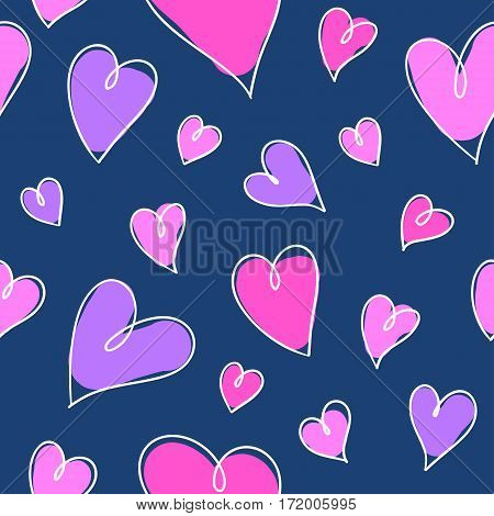 romantic seamless pattern with bright hand drawn hearts