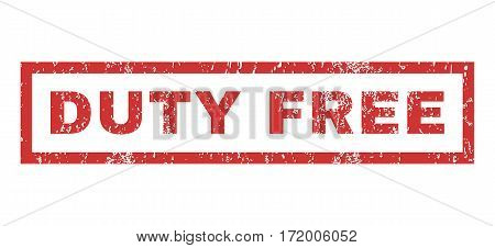 Duty Free text rubber seal stamp watermark. Caption inside rectangular banner with grunge design and unclean texture. Horizontal vector red ink sticker on a white background.