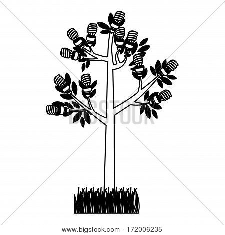 black silhouette tree leafy with grass vector illustration
