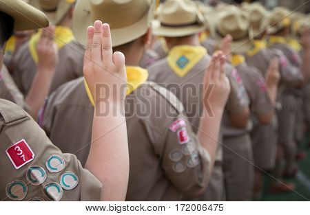 Asian Boy Scouts Oath Explained In Camp Activities As Part Of The Study. Boy Scout Sign Concept.
