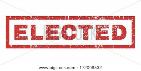 Elected text rubber seal stamp watermark. Tag inside rectangular banner with grunge design and dirty texture. Horizontal vector red ink sign on a white background.