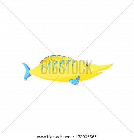 Children's drawing of a fish. Vector sea fish isolated on white background. Funny cartoon aquarium fish icon