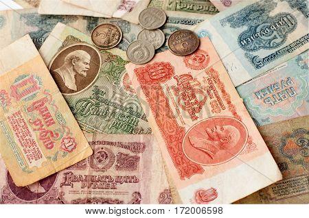 Rubles and kopecks Soviet period different denomination closeup