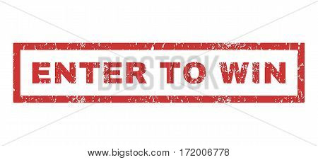 Enter To Win text rubber seal stamp watermark. Tag inside rectangular shape with grunge design and dust texture. Horizontal vector red ink sticker on a white background.