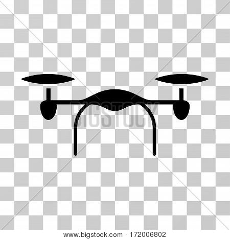 Quadcopter vector pictogram. Illustration style is a flat iconic black symbol on a transparent background.