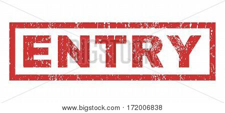 Entry text rubber seal stamp watermark. Tag inside rectangular banner with grunge design and scratched texture. Horizontal vector red ink sign on a white background.