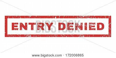 Entry Denied text rubber seal stamp watermark. Tag inside rectangular shape with grunge design and unclean texture. Horizontal vector red ink sign on a white background.