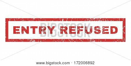 Entry Refused text rubber seal stamp watermark. Tag inside rectangular banner with grunge design and dirty texture. Horizontal vector red ink sticker on a white background.