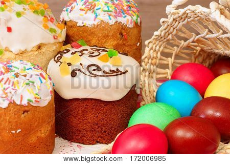 Easter cakes and colored eggs. Resurrection of Christ.