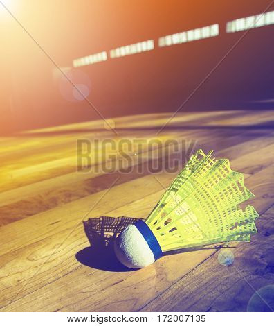 Shuttlecock badminton on court with color filters