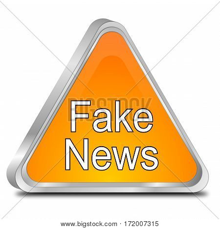 orange Fake News warning sign - 3D illustration