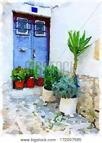 Digital watercolor painting of a double front door with windows and bars and plants in pots outside in Lisbon Portugal. With space for text.