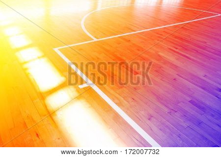 Wooden floor basketball court with color filters
