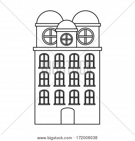 silhouette edifice residence with several floors vector illustration