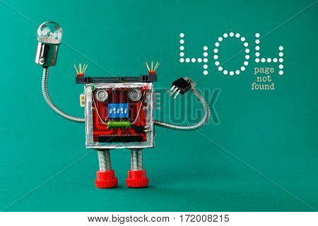 Error 404 Page Not Found Page. Robot With Light Bulb Lamp In Hand. Fun Toy Character On Green Backgr