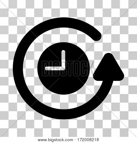 Restore Clock vector pictograph. Illustration style is a flat iconic black symbol on a transparent background.