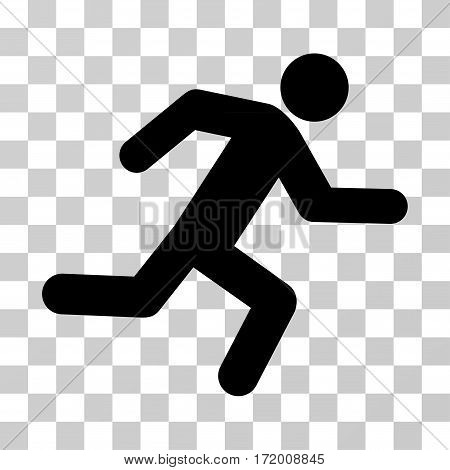 Running Man vector icon. Illustration style is a flat iconic black symbol on a transparent background.