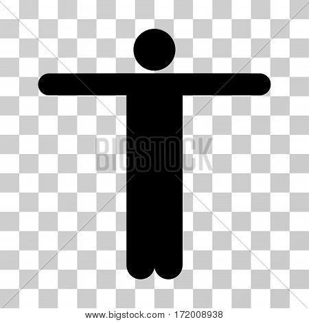 Scarecrow Pose vector icon. Illustration style is a flat iconic black symbol on a transparent background.