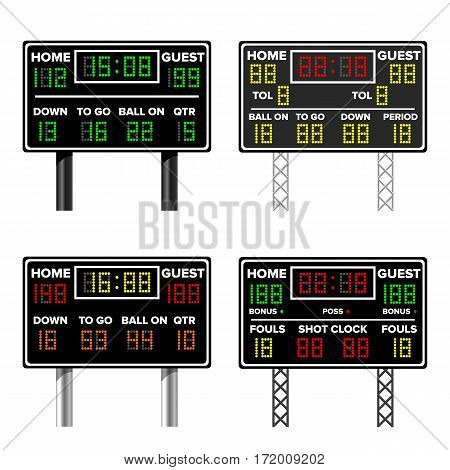 Basketball Scoreboard. Time, Guest, Home. Electronic Wireless Scoreboard Timer. Vector