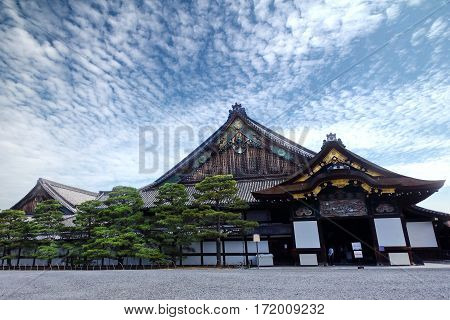 Ninomaru Palace of Nijo-jo Castle in n the bright sky and cloudyKyoto Japan