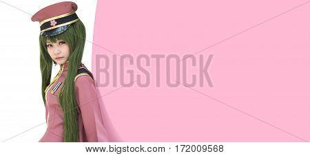 Japan anime cosplay , cartoon women . pink background