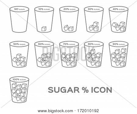 percent % of sugar vector icon on white background