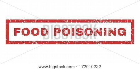 Food Poisoning text rubber seal stamp watermark. Tag inside rectangular banner with grunge design and dust texture. Horizontal vector red ink sticker on a white background.